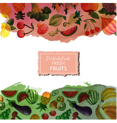 watercolor foods background vector image