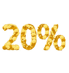 20 percent price cut off golden discount coins vector image