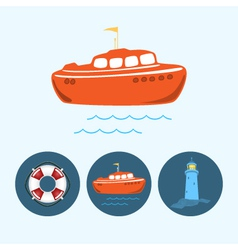 Set icons with boat life buoy lighthouse vector