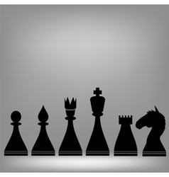Chess pieces silhouettes vector