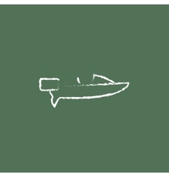 Motorboat icon drawn in chalk vector
