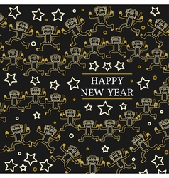Happy new year greeting card eps10 monkeys thin l vector