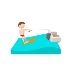 Water skiing cartoon icon vector