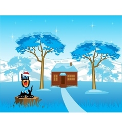 Lodge in wood vector