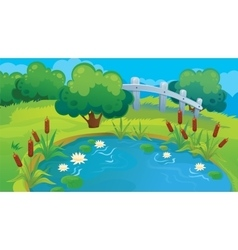 Country background of pond vector