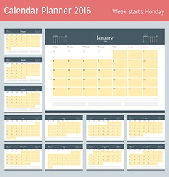 Calendar planner for 2016 year design print vector