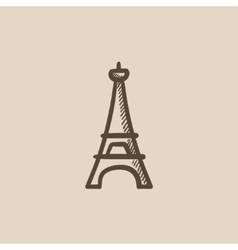 Eiffel tower sketch icon vector