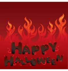 Halloween card with flaming texture vector