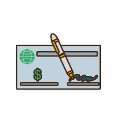 bank check paper isolated icon vector image vector image
