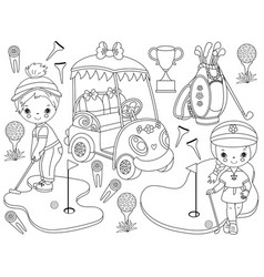 black and white golf set vector image vector image