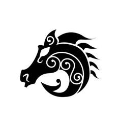 Black heraldic horse head vector