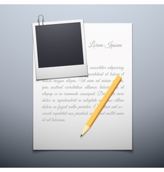 Blank paper and polaroid photo frame vector image
