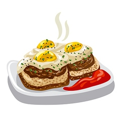 Burgers with fried eggs vector