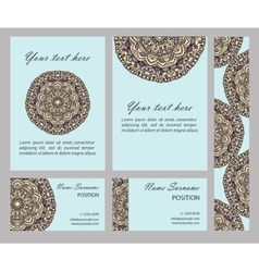 cards collection with mandala circular vector image vector image