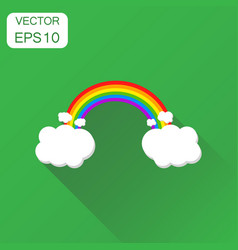 color rainbow with clouds icon business concept vector image