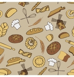 Doodle bakerybread seamless patternColored vector image