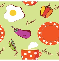 Food seamless pattern with egg plate tea vector image vector image