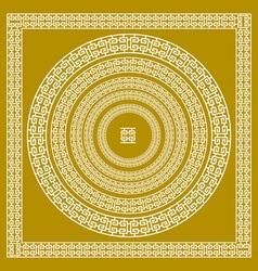 golden ornamental Meander circle frame in Gold vector image