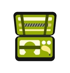 Golf set in suitcase icon vector