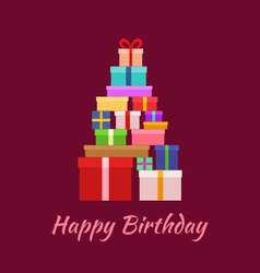 Happy Birthday with Gifts vector image