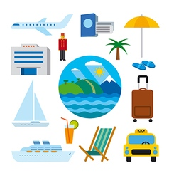 Icons of tropical resort vector