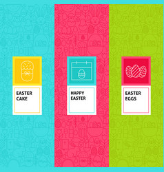 line easter patterns set vector image vector image