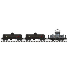 Old electric locomotive and tank wagons vector
