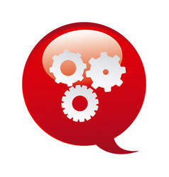 Red bubbles with gears symbol icon vector