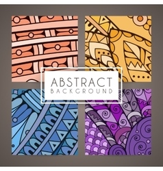 Set of four colorful intricate patterns vector image vector image