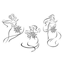 Silhouettes of brides with flowers vector