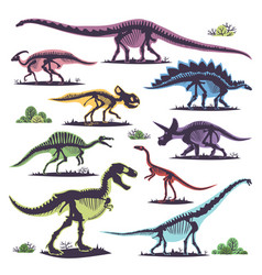 Skeletons of dinosaurs silhouettes set fossil bone vector
