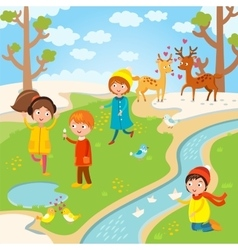 Spring Easter kids playing outdoor vector image vector image