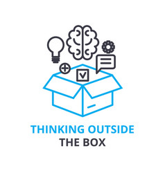 thinking outside the box concept outline icon vector image