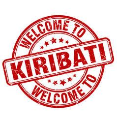 Welcome to kiribati red round vintage stamp vector