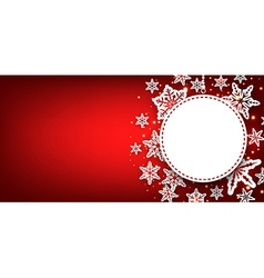 Winter round banner with snowflakes vector image