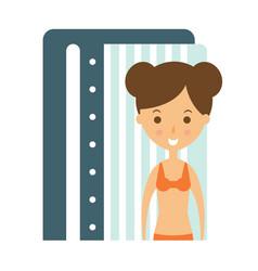 woman taking tan in solarium cabin to prepare for vector image