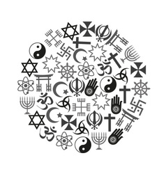 World religions symbols set of icons in circle vector