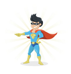 young super hero showing finger vector image