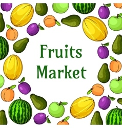 Fruits market decoration element with fruit icons vector