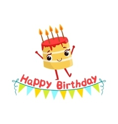 Birthday cake and paper garland kids birthday vector