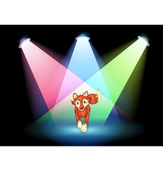 A fox at the stage with spotlights vector image