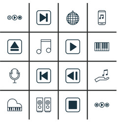 Set of 16 audio icons includes piano music vector