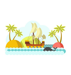 Pirates boat with sail in sea colorful vector