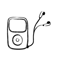 Figure mp3 player with headphones to listen music vector