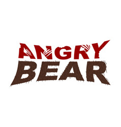 Angry bear emblem bite letters fur typography vector