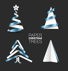 Set of various paper christmas trees vector