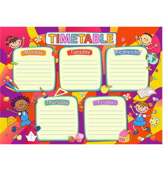 School timetable schedule colorful vector