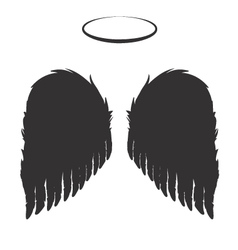 Black Angel Wings and Halo vector image