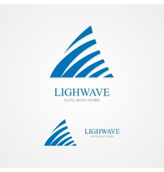 Logo with a combination of triangle and waves vector