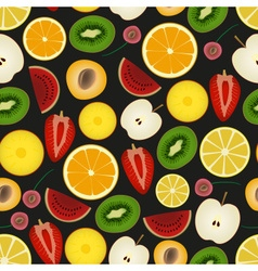 Colorful sliced various fruit summer seamless dark vector